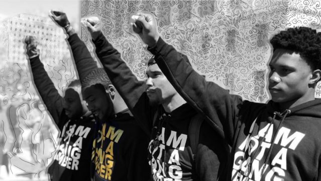 Based in Jacksonville, Florida, the EVAC movement spoke out about issues of police brutality, gang labeling, and systemic racism. (Photo illustration by Michele Abercrombie/News21, photo courtesy of Amy Donofrio)