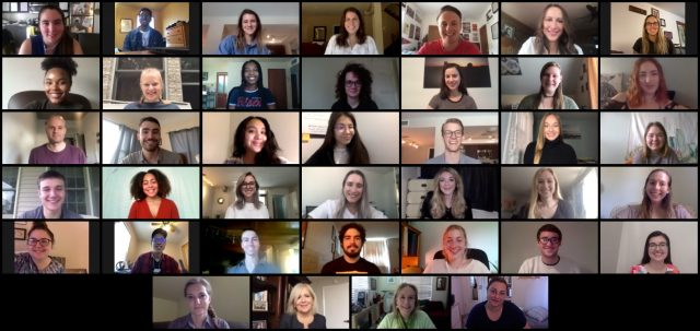 The 2020 News21 fellows in a video conference summer newsroom.