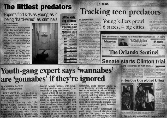 In the 1990s criminologists predicted a new breed of children would grow up to be super-predators. While the myth was debunked, the legacy lives on.